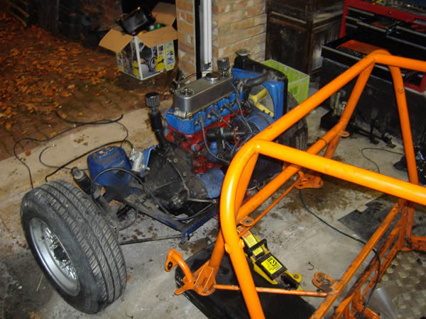 Danny's buggy safely has engine removed